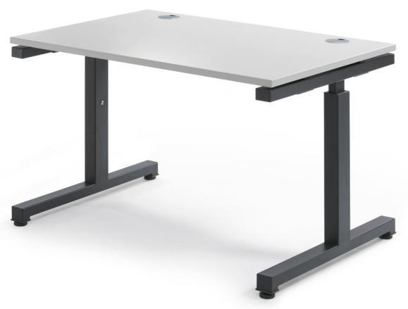 Schreibtisch Comfort 2.0 MULTI MODUL Lichtgrau | 1200 | Anthrazit RAL 7016