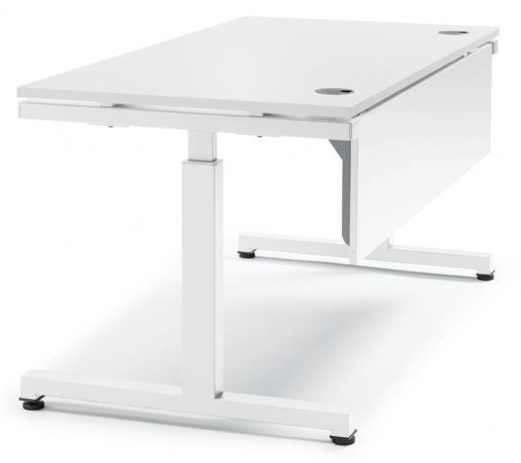 Schreibtisch Comfort 2.0 MULTI MODUL Weiß | 1600 | Alusilber RAL 9006