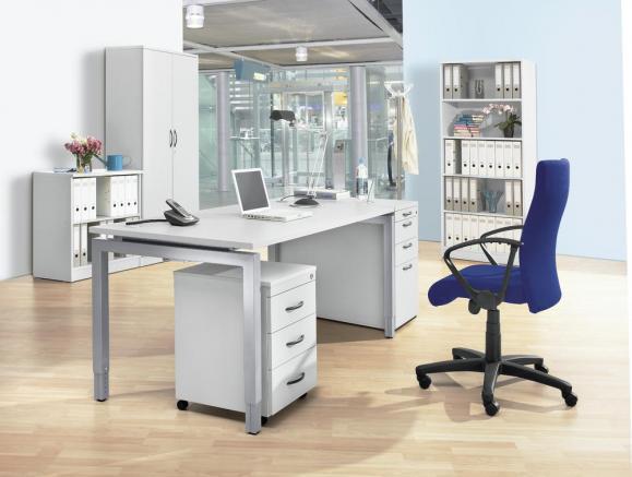 Schreibtisch 4-Fuß Comfort MULTI MODUL Lichtgrau | 1600