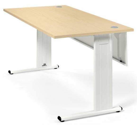 Schreibtisch Basic M MULTI MODUL Ahorndekor | 800 | Weiß RAL 9010
