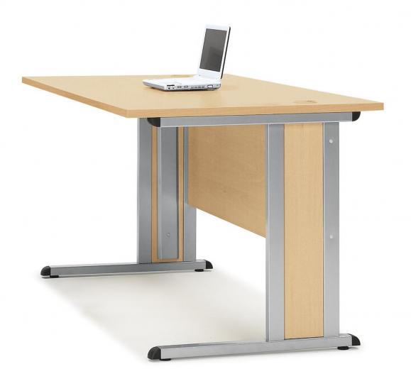 Schreibtisch Basic MULTI MODUL Buchedekor | 1600 | Alusilber RAL 9006