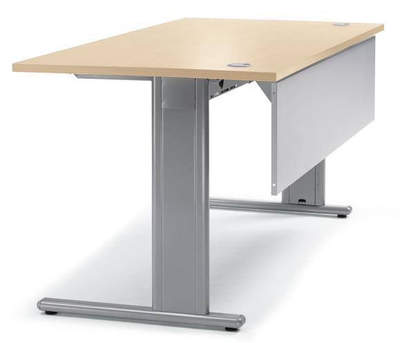 Schreibtisch Basic M MULTI MODUL Ahorndekor | 1600 | Alusilber RAL 9006