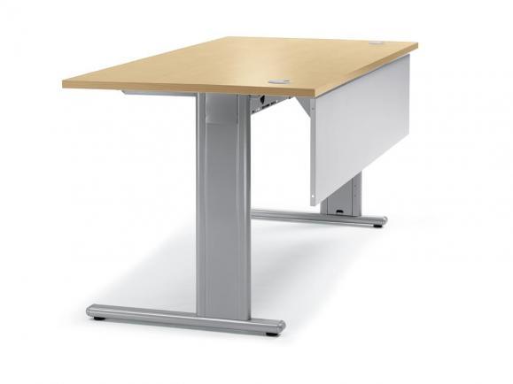 Schreibtisch Basic M MULTI MODUL Buchedekor   1600   Alusilber RAL 9006