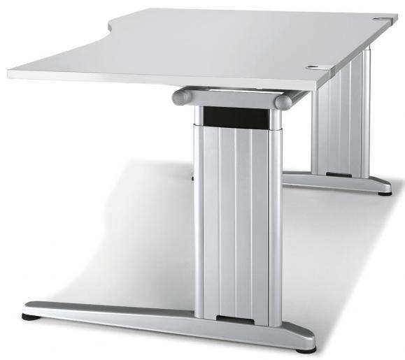 Schreibtisch Freiform C-Fuß PROFI MODUL Lichtgrau | 1600 | Freiform rechtsseitig