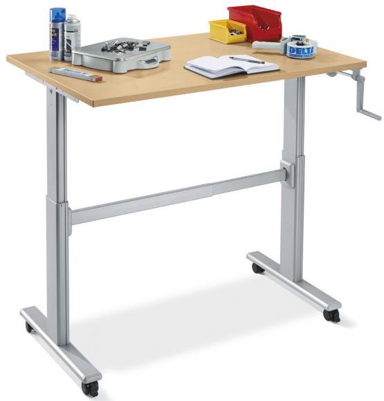 Sitz-/Steh-Arbeitstisch - mit Kurbel höhenverstellbar