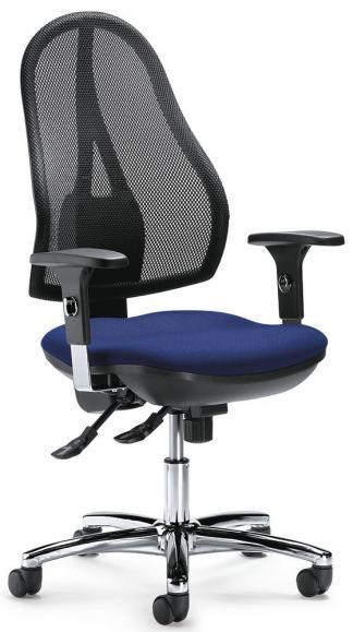 Bürodrehstuhl COMFORT NET DELUXE mit Armlehnen Schwarz/Blau | verstellbare Armlehnen