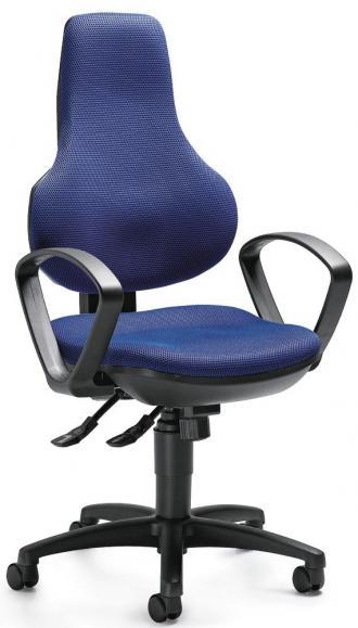 Bürodrehstuhl COMFORT FIT DELUXE mit Armlehnen Blau   feste Armlehnen   Schwarz