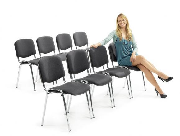 12er SET - Besucherstühle ISO Anthrazit | Verchromt