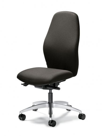 Bürodrehstuhl mySIT ohne Armlehnen Dunkelgrau | Sitzneigeverstellung-Automatik, Sitztiefenverstellung, Synchronmechanik | Alusilber
