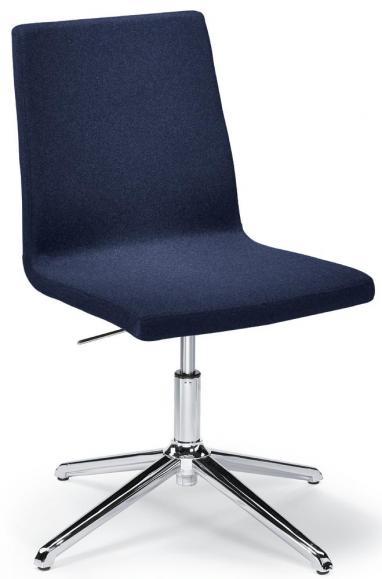 Konferenzstuhl TURN mit Gleitern Blau   ohne Armlehnen   Verchromt   Fußkreuz mit Gleitern
