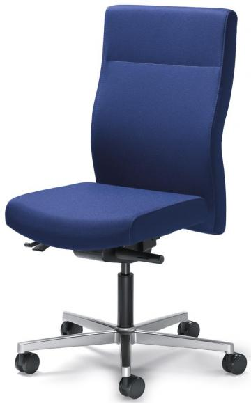 Bürodrehstuhl winSIT ohne Armlehnen Blau | Sitzneigeverstellung-Automatik, Sitztiefenverstellung | Alusilber