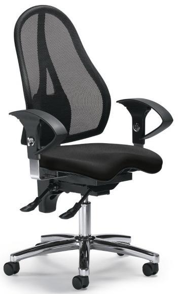 Bürodrehstuhl SITNESS 40 NET mit Armlehnen Schwarz/Schwarz
