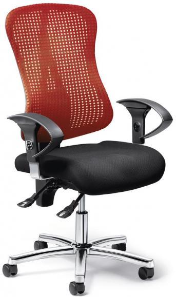 Bürodrehstuhl SITNESS 70 NET mit Armlehnen Schwarz/Rot