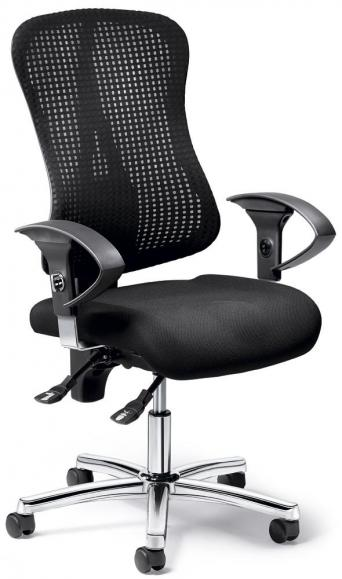 Bürodrehstuhl SITNESS 70 NET mit Armlehnen Schwarz/Schwarz