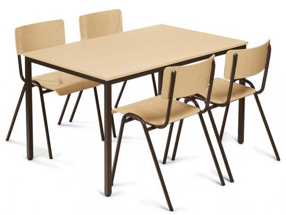 SET: Kantinen-Stapelstühle + Tisch