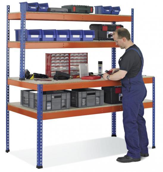 Arbeits-Packtisch, mit Regalebenen