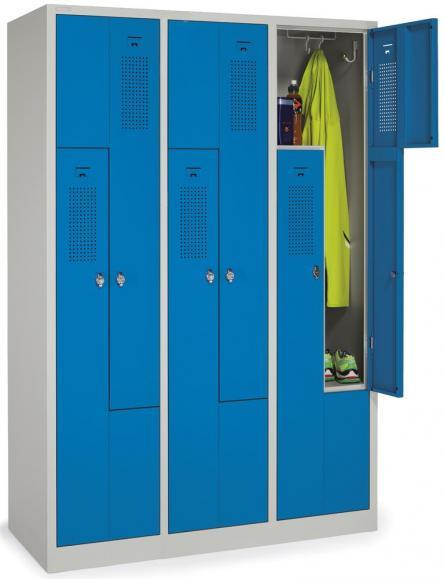 Z-Garderoben-Stahlspind mit Lüftungslöchern Himmelblau RAL 5015 | 200/400 | 6 | Drehriegelverschluss