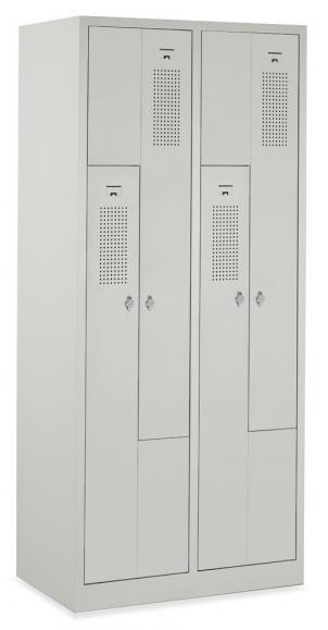 Z-Garderoben-Stahlspind mit Lüftungslöchern Lichtgrau RAL 7035   150/300   4   Zylinderschloss