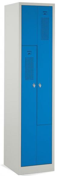 Z-Garderoben-Stahlspind mit Lüftungslöchern Himmelblau RAL 5015   400   2   Drehriegelverschluss
