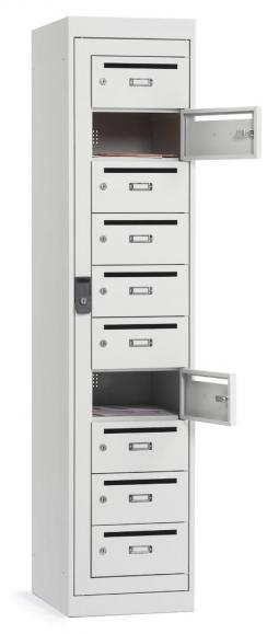 Postverteiler-Stahlschrank mit 10 Türen Lichtgrau RAL 7035