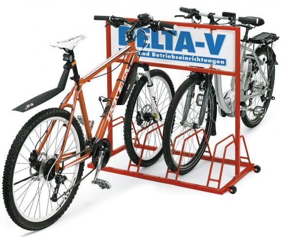Fahrradständer mit Werbeaufdruck