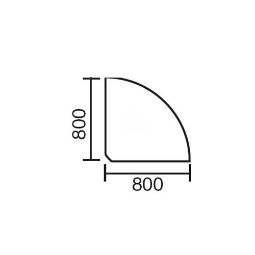 Verkettungsplatte BASE LINE Lichtgrau | 90° Winkel 1/4 Kreis