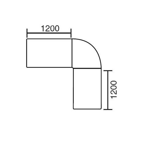 Winkelkombination Basic MULTI MODUL Lichtgrau | 2400 | 2000 | rund | Alusilber RAL 9006
