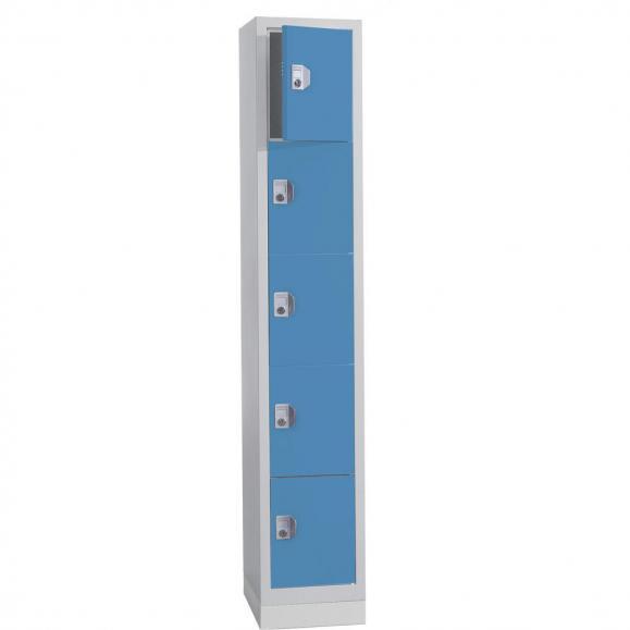 Schließfach-Stahlschrank SP PROFI mit Sockel Lichtblau RAL 5012 | 1 | Zylinderschloss | 5