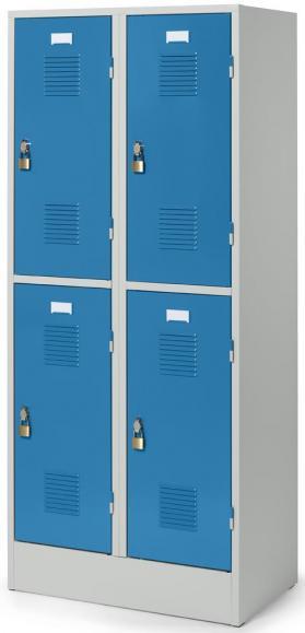 Doppelstöckiger Garderobenspind Delta PROTECT Lichtblau RAL 5012 | 300 | 4 | Drehriegelverschluss