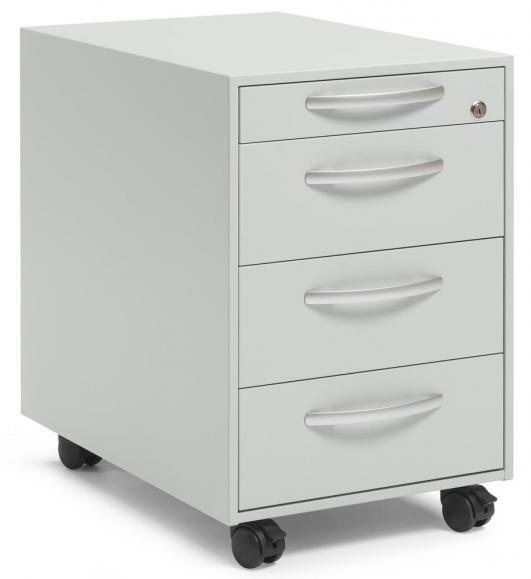 Rollcontainer DELTAFLEXX Lichtgrau | 600 | Schubladen Stahl | 1 + 3 Schübe