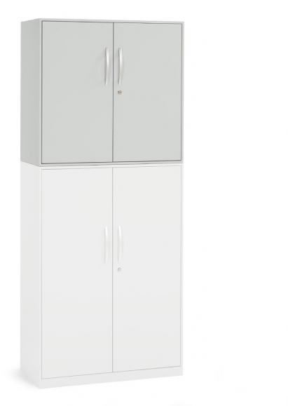 Flügeltüren-Aufsatzschrank DELTAFLEXX Lichtgrau | 800 | Türen Stahl