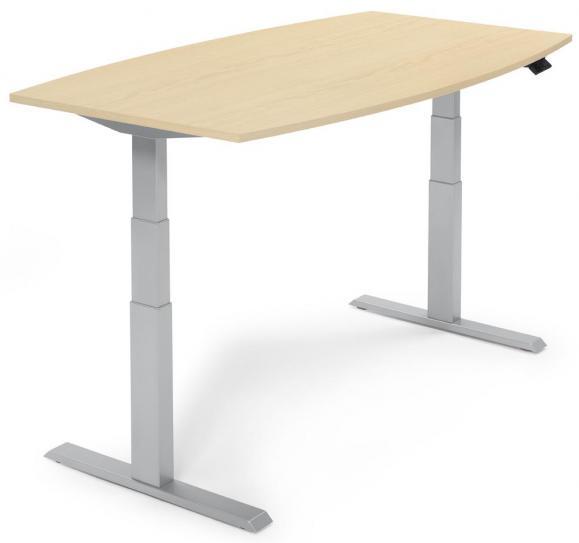 Sitz-/ Stehbesprechungstisch, höhenverstellbar Ahorndekor | 1800 | Alusilber RAL 9006