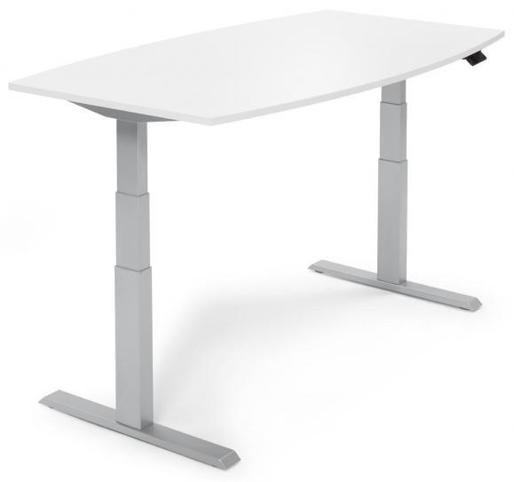 Sitz-/ Stehbesprechungstisch, höhenverstellbar Weiß | 1800 | Alusilber RAL 9006