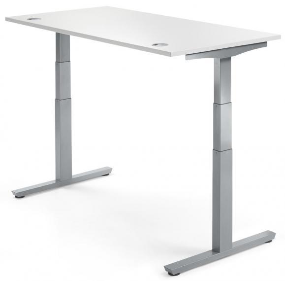 Sitz-/ Stehschreibtisch PROFI MODUL Weiß   1200   Alusilber RAL 9006