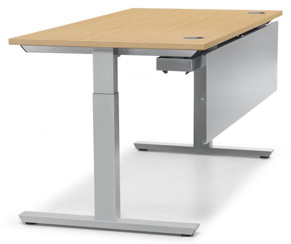 Schreibtisch T-Fuß PROFI MODUL Buchedekor | 800 | Alusilber RAL 9006