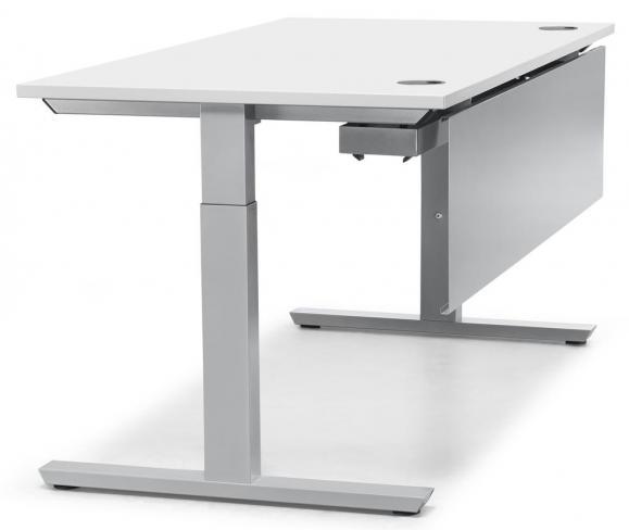 Schreibtisch T-Fuß PROFI MODUL Weiß | 800 | Alusilber RAL 9006
