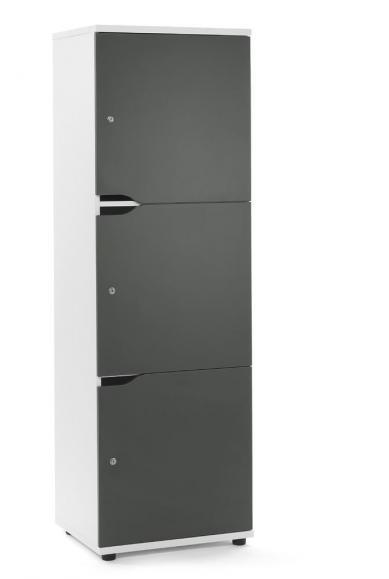 Schließfachschrank OFFICE-LINE mit 3 Fächern Grau | Weiß | Zylinderschloss mit Wechselzylinder