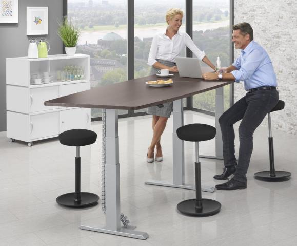XXL Sitz-/Stehbesprechungstisch Bootsform - höhenverstellbar