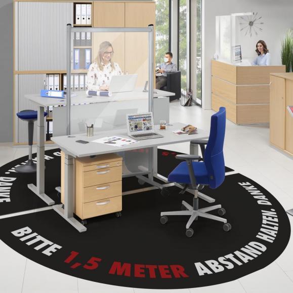 Bodenmatte mit Abstandshinweis für Arbeitsplatz