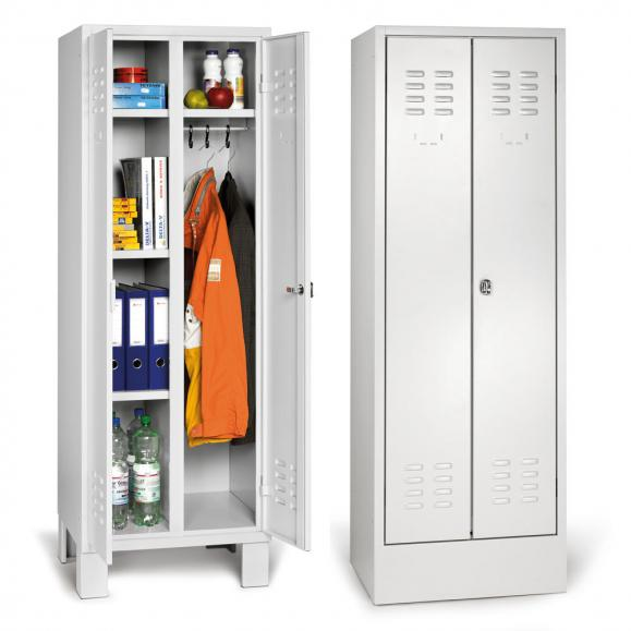 Garderobenschrank Mehrzweckeinteilung BASIC mit Füßen Lichtgrau RAL 7035 | 300 | 2