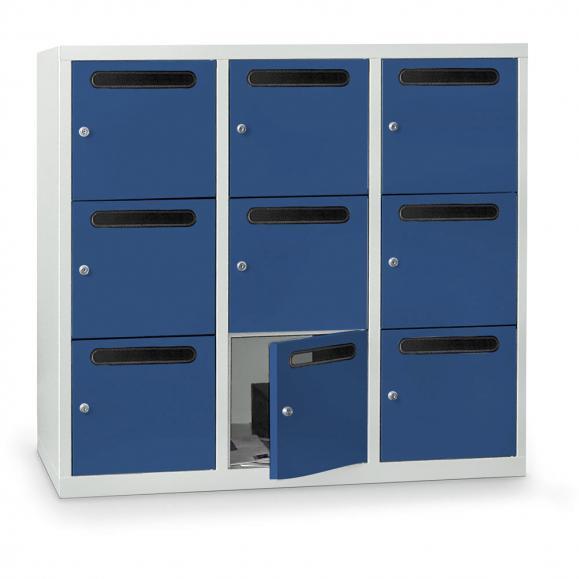 Postverteilerschrank zur Wandaufhängung, 9 Fächer Enzianblau RAL 5010   9