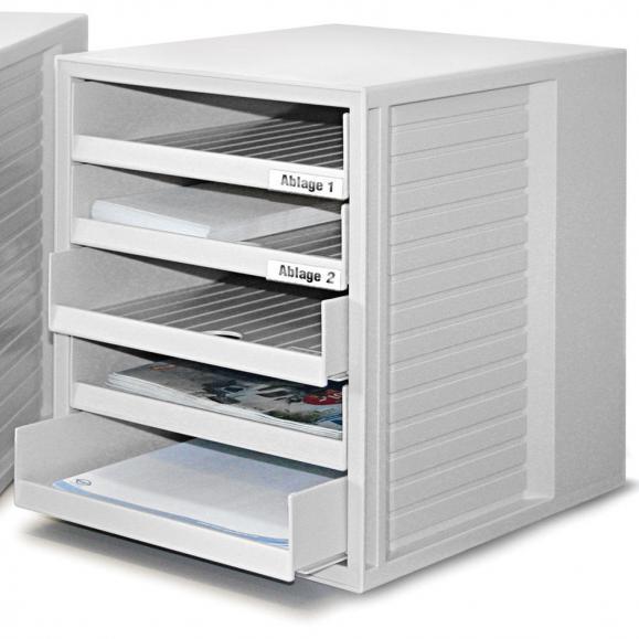 Kunststoff-Schubladenbox Lichtgrau | 5 offene Schubladen