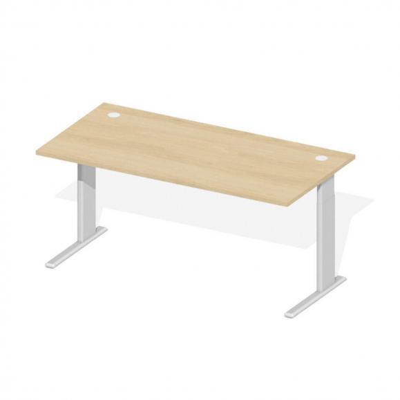 Schreibtisch Comfort M MULTI MODUL Buchedekor   1600   Alusilber RAL 9006   Rechteck