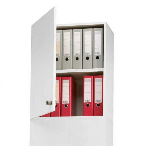 Aufsatz-Flügeltürenschrank PROFI MODUL Schrankwand Lichtgrau | 600 | Aufsatzelement, Anschlag links | 750 mm(2 OH)