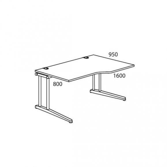 Schreibtisch Freiform C-Fuß PROFI MODUL Weiß | 1600 | Freiform rechtsseitig