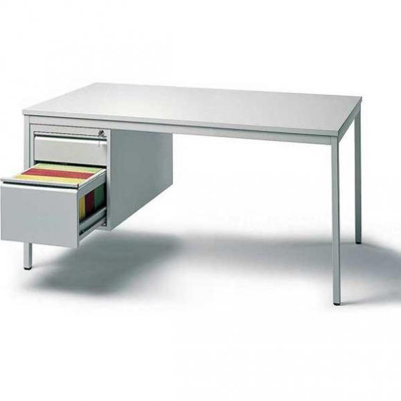 Schreibtischkombination BASE LINE Lichtgrau | 1600 | 1 Hängecontainer: Mit 1 Schub und 1 Hängeregistratur