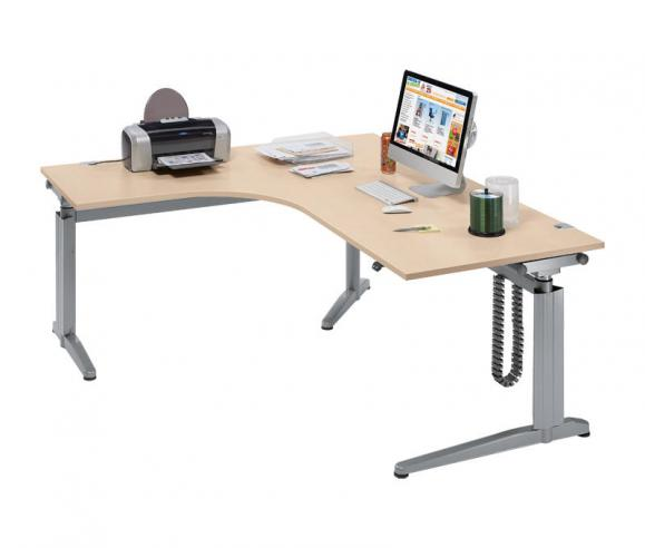 Sitz-/ Stehschreibtisch XXL-Jumboform PROFI MODUL Ahorndekor   1800   Jumbo Freiform linksseitig