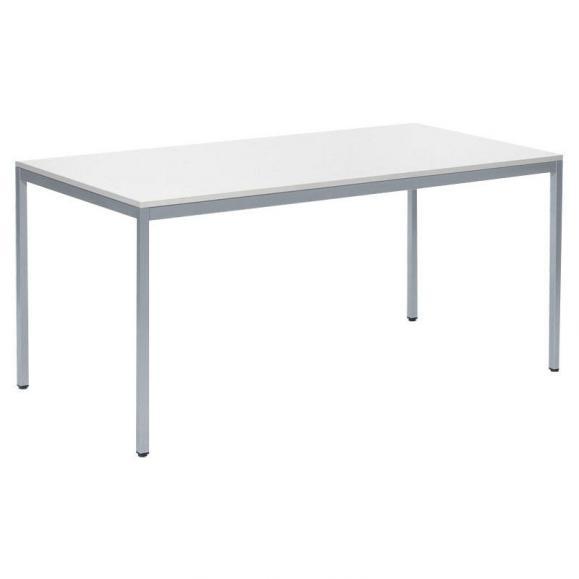 Konferenztisch BASE-MODUL Weiß | 2000 | 800 | Alusilber RAL 9006 | Rechteck | 19
