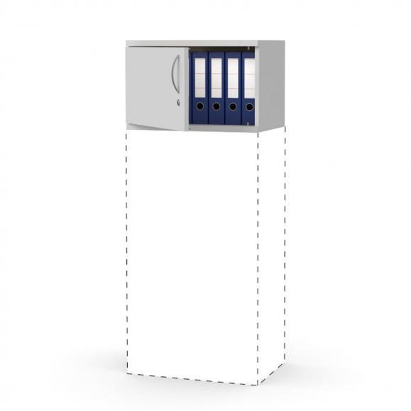 Flügeltüren-Aufsatzschrank PROFI MODUL Lichtgrau | 600 | Türanschlag links | 390 mm (1 OH)