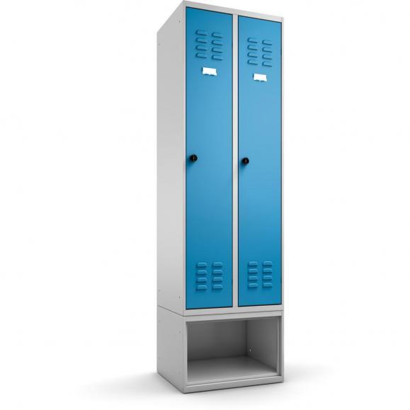 Garderobenspind mit Schuhfach COLOR Lichtblau RAL 5012 | 600 | mit untergebautem Schuhfach | 2